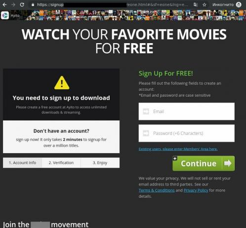 Screenshot of a pirated-movie streaming site.