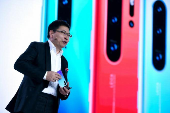 Richard Yu, CEO of Huawei's consumer business group at the P30 Pro launch event. Credit: Eric Piermont/AFP/Getty Images